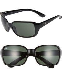 70d1165558 Lyst - Emporio Armani Rectangle Wrap Sunglasses in Black