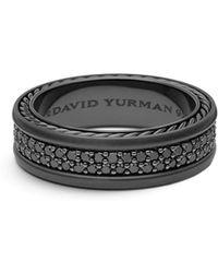David Yurman - Streamline Two-row Pave Band Ring With Black Diamonds And Black Titanium - Lyst