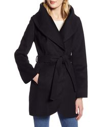 Halogen Halogen Wool Blend Wrap Coat - Black
