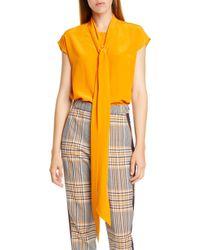1c289f4b1b33d9 HUGO - Esalis Tie Neck Sleeveless Silk Blouse - Lyst