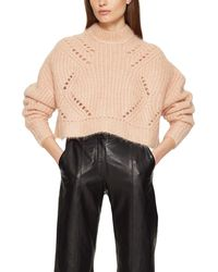 Anine Bing Jordan Pointelle Mohair Blend Crop Sweater - Pink