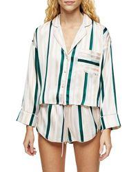 TOPSHOP Green Stripe Pyjama Shorts