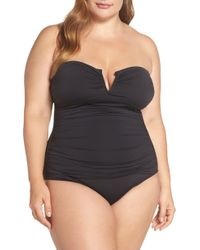 e8f3ecff2b Tommy Bahama Fractured Stripe V-wire Bandeau One-piece in Black - Save 40%  - Lyst