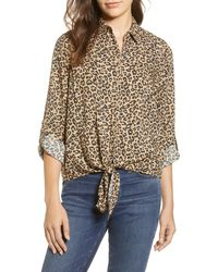 Beach Lunch Lounge Yumi Leopard Print Tie Front Rayon Top - Multicolor