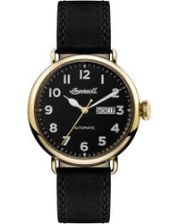 INGERSOLL WATCHES Ingersoll Trenton Automatic Leather Strap Watch - Black