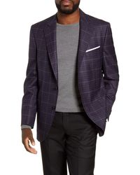 Peter Millar Hyperlight Classic Fit Plaid Wool Sport Coat - Blue