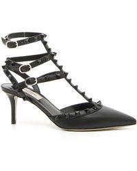 Valentino Garavani Valentino Garavani Leather 'rockstud' Heeled Pumps - Black
