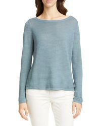 Eileen Fisher - Bateau Neck Organic Linen & Cotton Sweater - Lyst