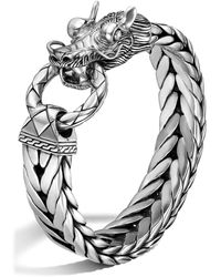 John Hardy Men's Naga Silver Dragon Head Bracelet On Fishtail Chain - Metallic
