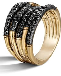 John Hardy - 'bamboo - Lava' Wide Pave Sapphire Stack Ring - Lyst