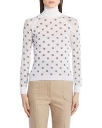 Fendi Karligraphy Motif High Collar Pullover - White