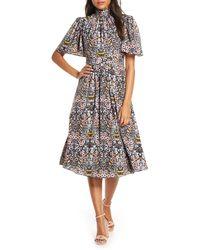 Julia Jordan Ruffle Neck Flutter Sleeve A-line Dress - Black