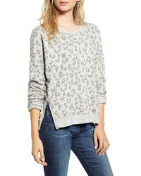 Rails Marlo Leopard Print Side Zip Sweatshirt - Gray