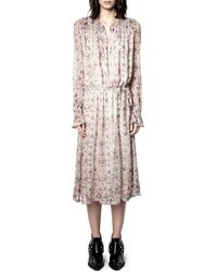 Zadig & Voltaire - Raya Mousseline Floral Long Sleeve Beaded Midi Dress - Lyst