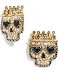 BaubleBar Sugar Skull Stud Earrings - Metallic