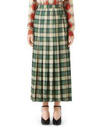 Gucci - Tartan Check Wool Twill Maxi Skirt - Lyst