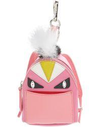 4af7d58f7a13 Fendi -  monster  Genuine Fox   Nutria Fur Trim Backpack Bag Charm - Lyst