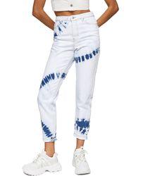TOPSHOP Bleach Tie Dye Mom Tapered Jeans - Blue