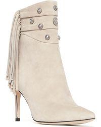 b6b02d86496f Lyst - Sam Edelman Kandice Fringe Ankle Boot in Gray