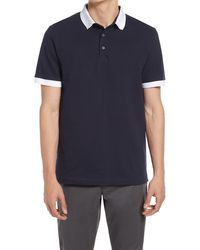 French Connection Men's Ampthill Tipped Polo Shirt - Blue