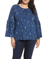 Two By Vince Camuto - Ditsy Floral Print Bell Sleeve Top - Lyst