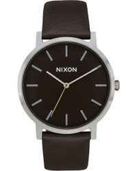 Nixon - The Porter Leather Strap Watch - Lyst