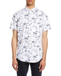 Calibrate Floral Short Sleeve Button-up Shirt - White