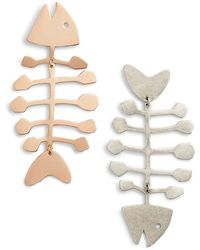 Tory Burch Mini Fish Statement Earrings - Metallic