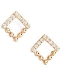 Dana Rebecca - Poppy Rae Square Diamond Stud Earrings - Lyst