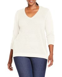 Foxcroft - Presley Perforated Stitch Sweater - Lyst