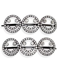Ashley Williams - Set Of 2 Smiley Face Crystal Hairpins - Lyst
