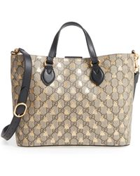 7fc7f981656719 Gucci Web Animalier Gg Supreme Tote With Bee in Natural - Lyst