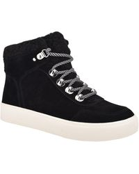 Marc Fisher Summa Genuine Shearling High Top Sneaker - Black