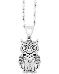 Lagos Sterling Silver Rare Wonders Owl Pendant Necklace - Metallic