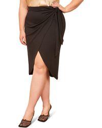 Reformation Aruba Ribbed Side Tie Skirt - Black