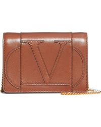 Valentino Go Logo Leather Wallet On A Chain - Brown