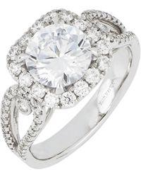 Bony Levy Diamond Pavé Halo Round Engagement Ring Setting (nordstrom Exclusive) - Metallic