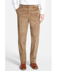 Berle - Flat Front Classic Fit Corduroy Trousers - Lyst