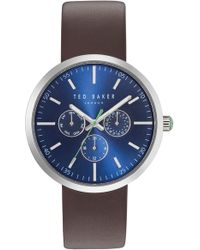 Ted Baker - Jack Multifunction Leather Strap Watch - Lyst
