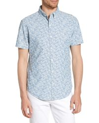 Bonobos Riviera Slim Fit Sketch Wave Print Shirt - Blue
