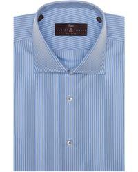 Robert Talbott Tailored Fit Stripe Dress Shirt - Blue