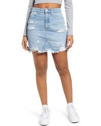 BP. Paint Splatter Ripped Organic Denim Miniskirt - Blue