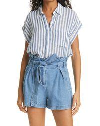 Rails Whitney Stripe Camp Shirt - Blue