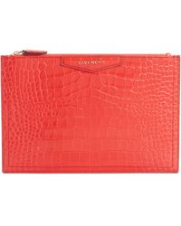 Givenchy Medium Antigona Croc Embossed Leather Pouch - Red