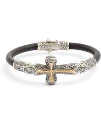 Konstantino - Stavros Cross Leather Bracelet - Lyst