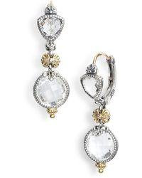 Konstantino Pythia Double Drop Crystal Earrings - Metallic