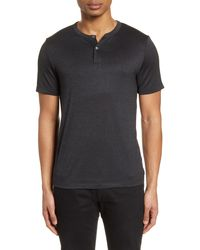 Theory Gaskell Slim Fit Short Sleeve Henley - Black