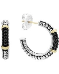 Lagos | Black Caviar Ceramic 18k Gold And Sterling Silver 2 Station Hoop Earrings | Lyst