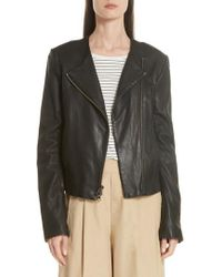 Vince - Zip Cross Front Leather Jacket - Lyst