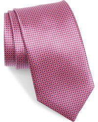 David Donahue Geometric Silk Tie - Green